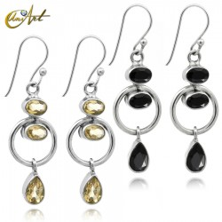Earrings in silver with onyx or citrine, Orbit model
