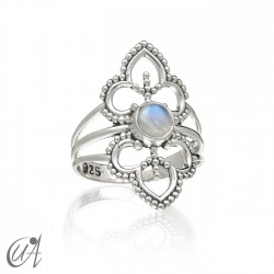 Moonstone sterling silver Lakshmi ring