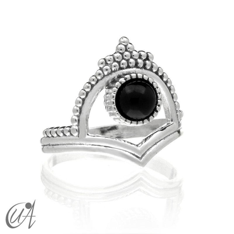 Onyx in sterling silver, Parvati ring