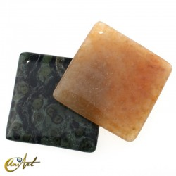 Square natural stone bead