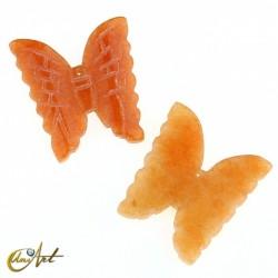 Mariposa tallada en aventurina naranja