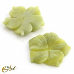 Flower carved in lemon jade