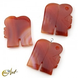 Carved carnelian elephant bead