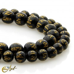 Black agate with mantra