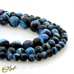 Bicolor black and blue agate - faceted beads