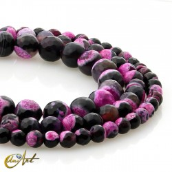 Bicolor pink and black agate strips, faceted