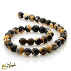 Faceted orange and black agate 10 mm beads