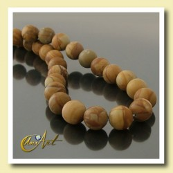 12 mm round beads of Wood Jasper.