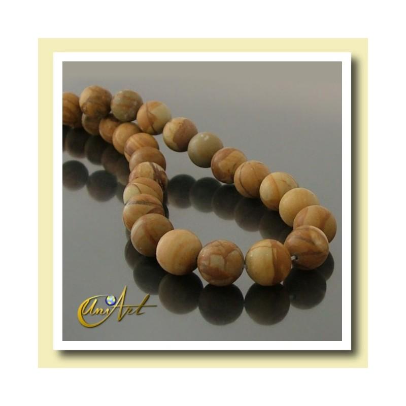 12 mm round beads of Wood Jasper.