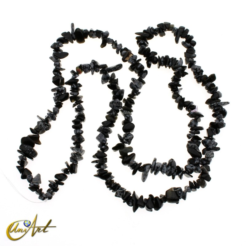 Snowflake obsidian chip beads