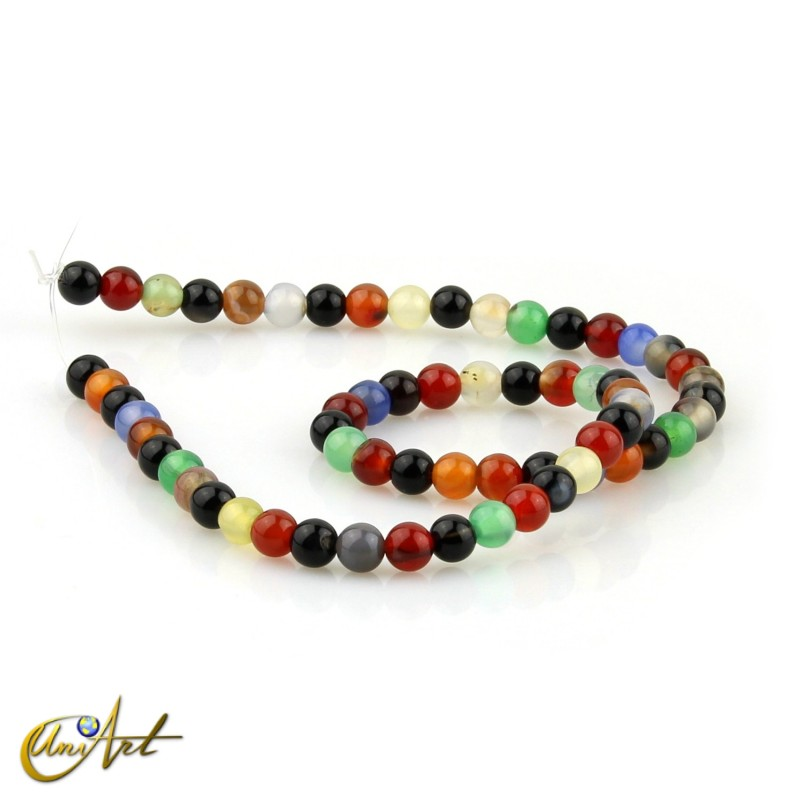 6 mm Round beads of colorful agate