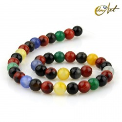 10 mm Round beads of colorful agate