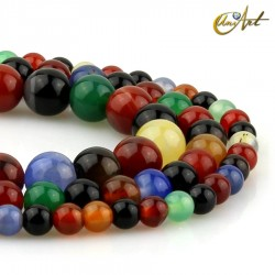 Round beads of colorful agate