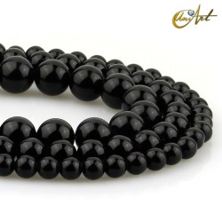 Strips of black obsidian round beads