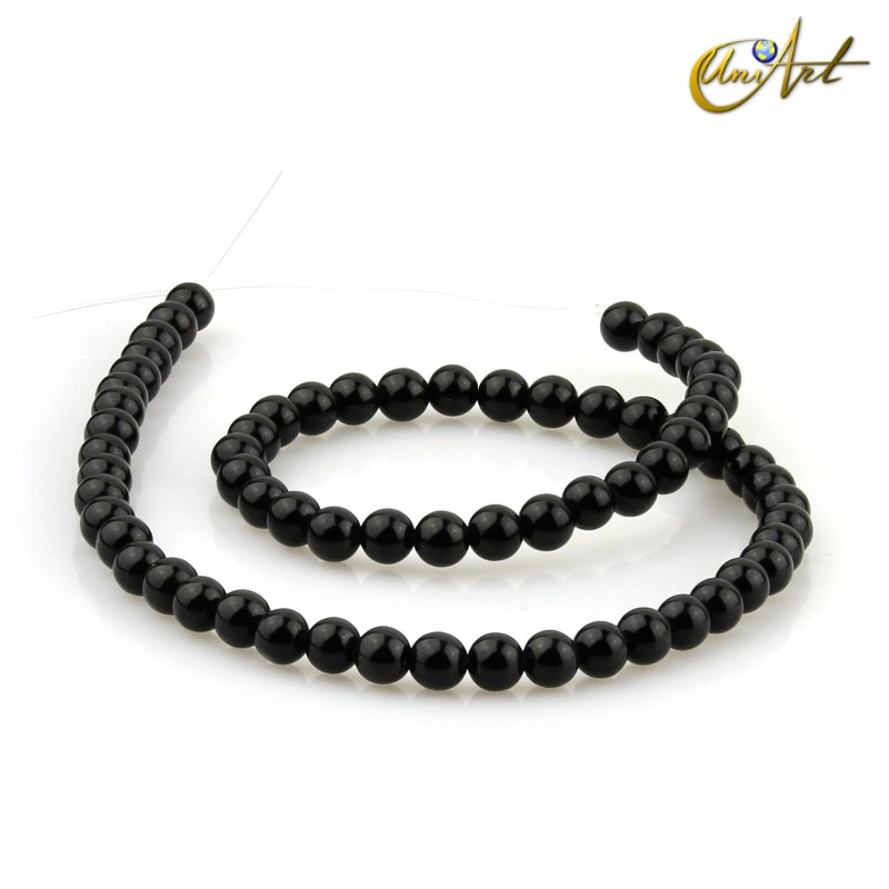 Strips of black obsidian 6 mm round beads