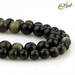 Obsidiana dorada - hilos de bolas