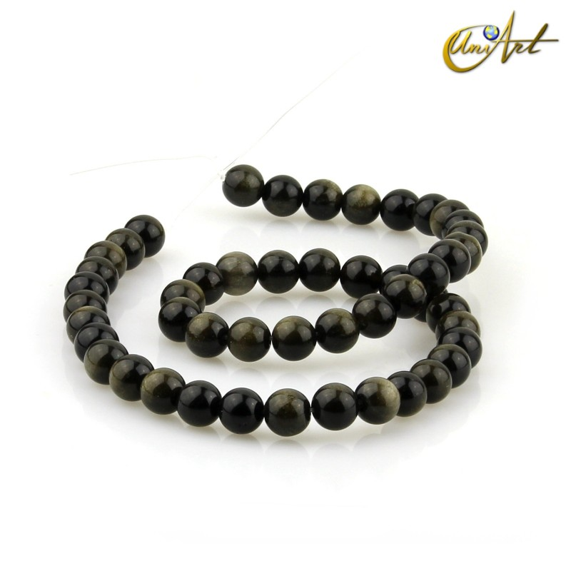 Golden Obsidian - 8 mm round beads threads