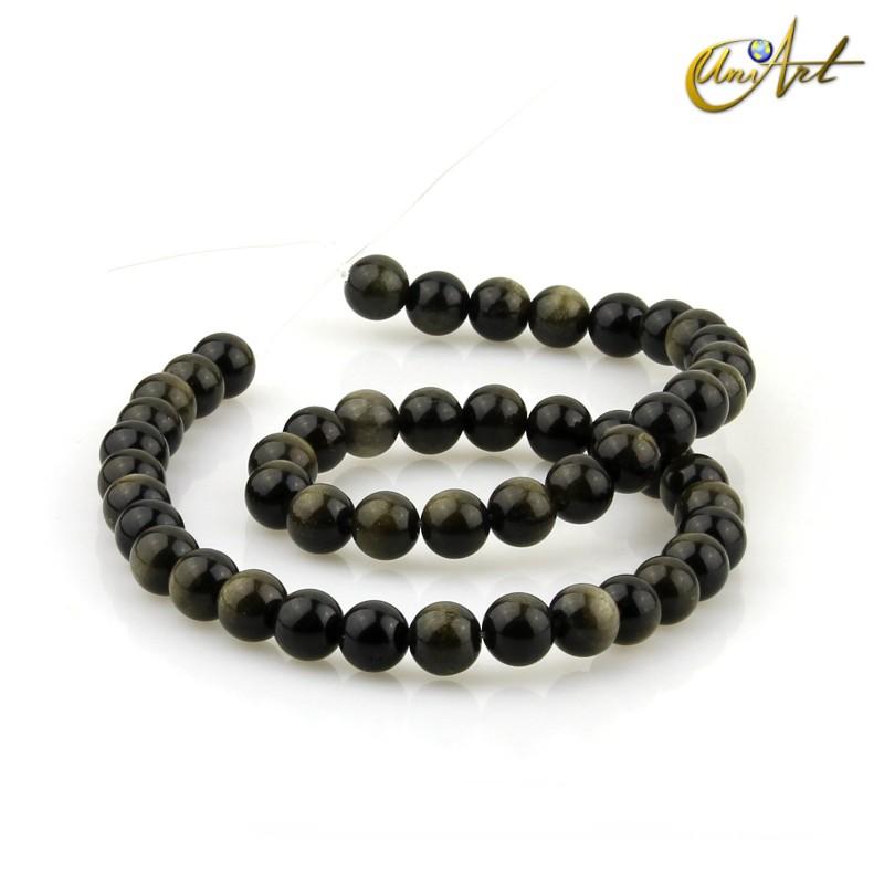 Obsidiana dorada - hilos de bolas 8 mm