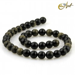 Golden Obsidian - 10 mm round beads threads