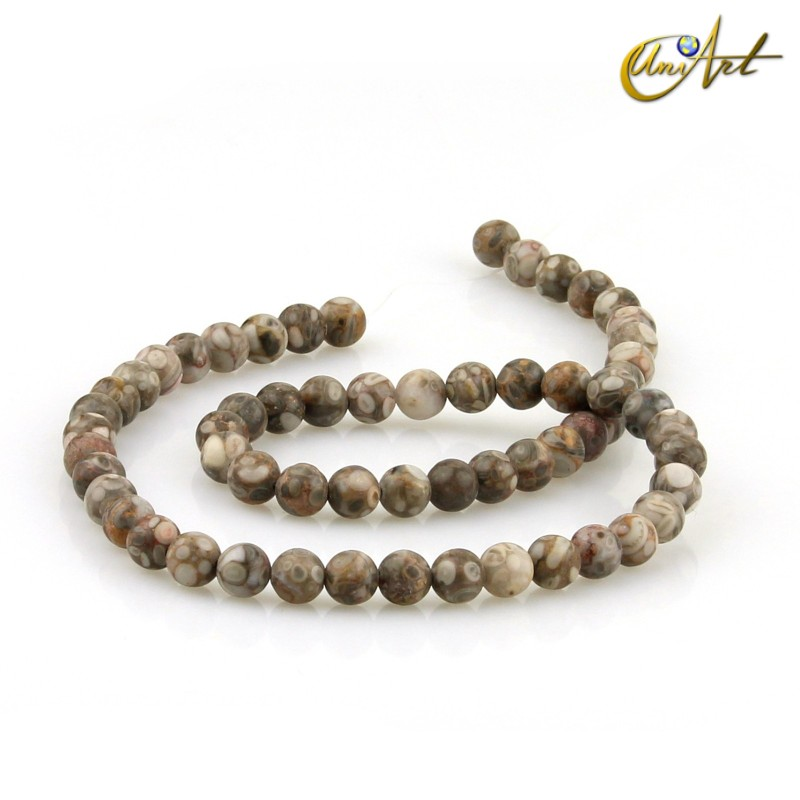 Maifan Stone Strands, 6 mm round beads