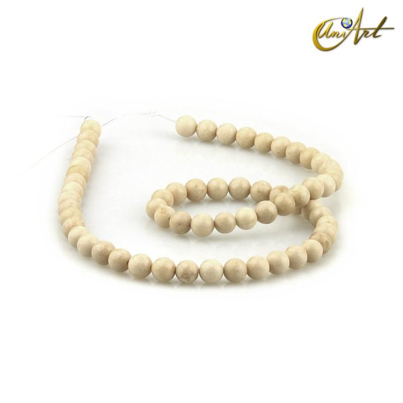 Cream Jasper Strands, 6 mm round beads