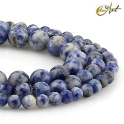 Mottled blue jasper rond beads strands