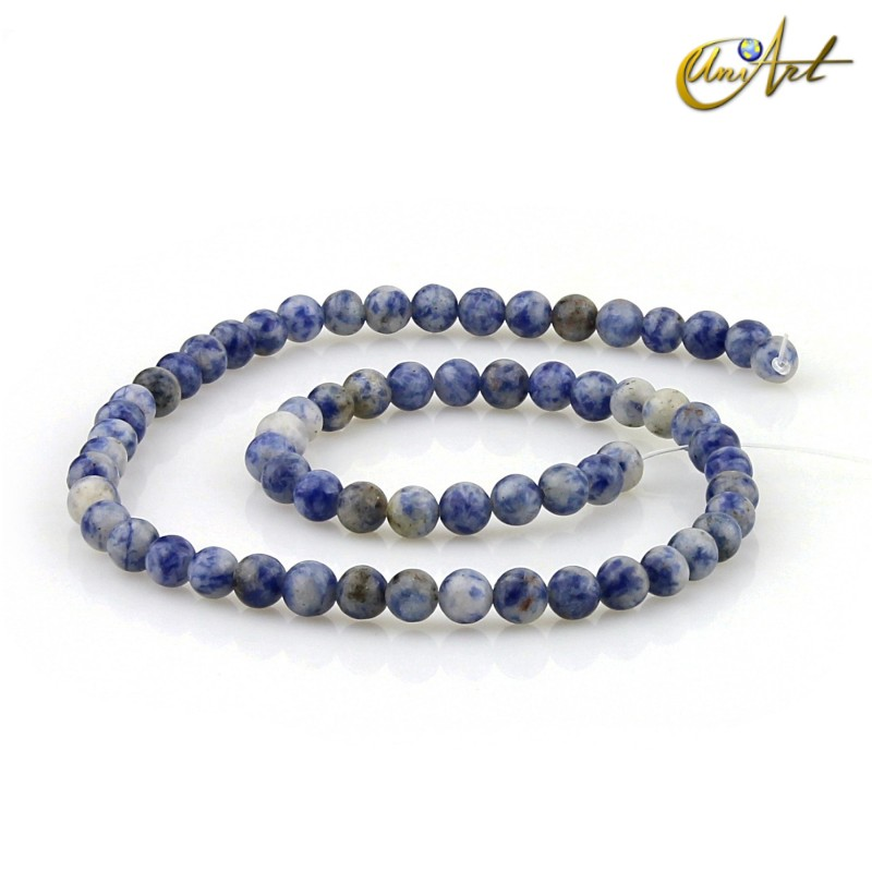 Mottled blue jasper 6 mm rond beads strand