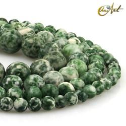 Hilos de bolas de Jaspe verde moteado