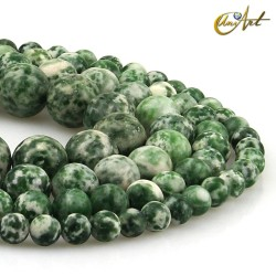 Spot green jasper rond beads Threads