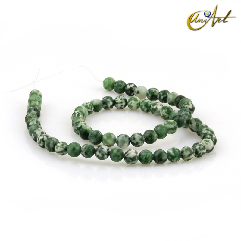Spot green jasper 6 mm rond beads Threads
