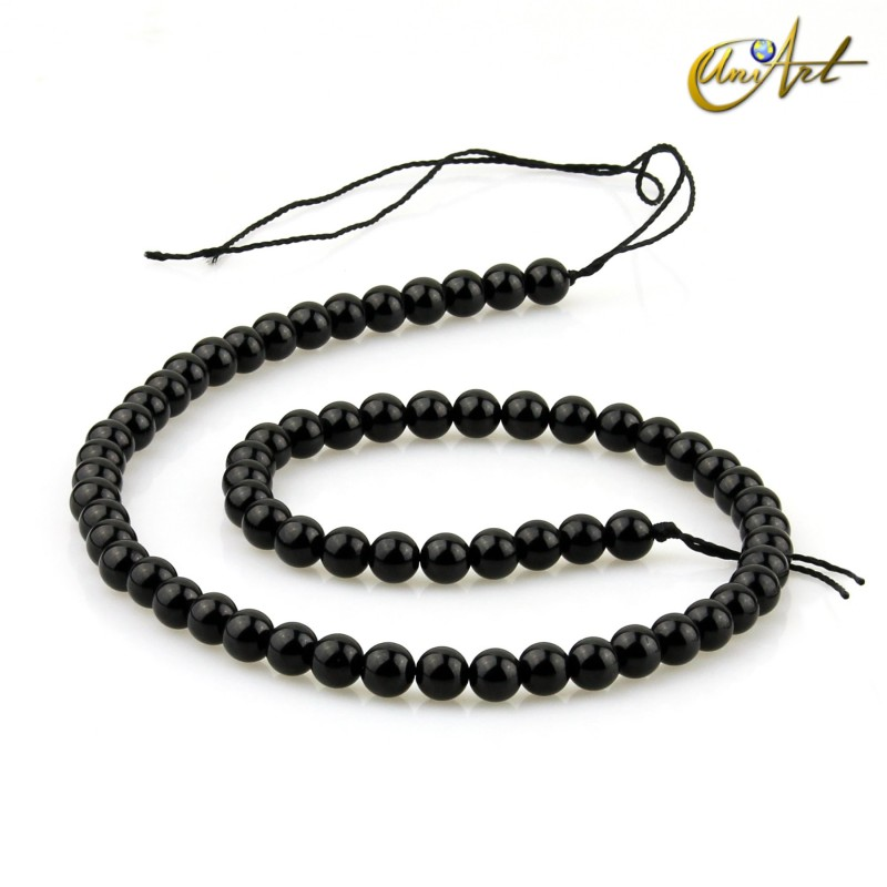 6 mm Black tourmaline round beads
