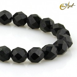 Black tourmaline faceted round beads