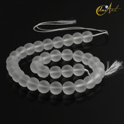 Strands of matt crystal quartz, 12 mm round beads
