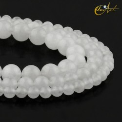 Translucent white jade round beads