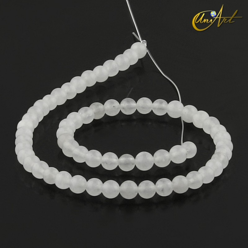 Translucent white jade 6 mm round beads