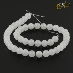 Translucent white jade 8 mm round beads