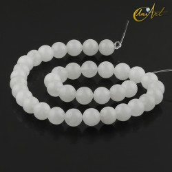 Translucent white jade 10 mm round beads