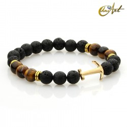 Anchor lava bracelet and tiger eye