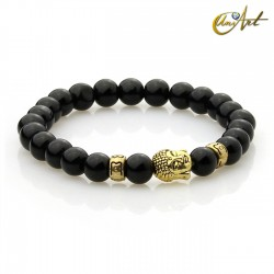 Black agate bracelet - Buddha model 3