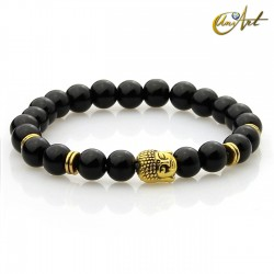 Black agate bracelet - Buddha model 1