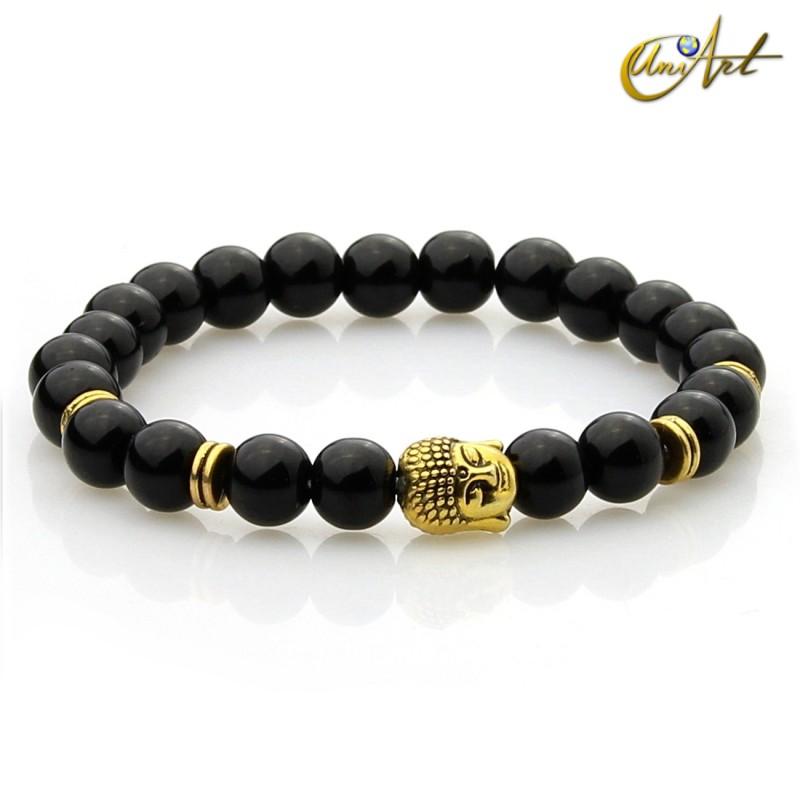 Black agate bracelet - Buddha model 1