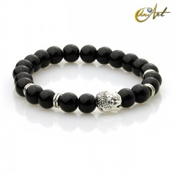 Black agate bracelet - Buddha model 2