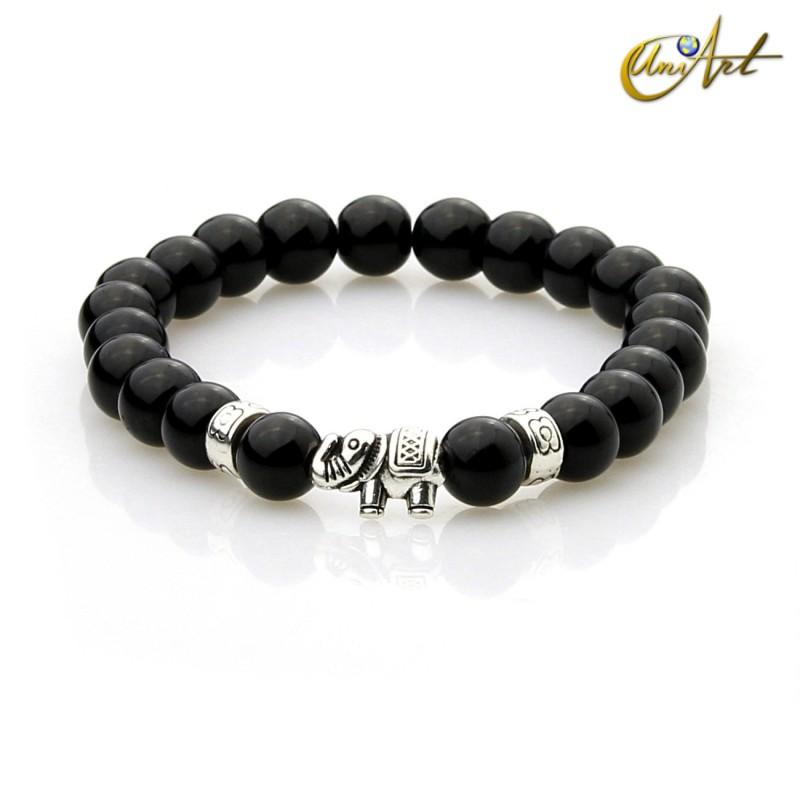 Agate bracelet with elephant