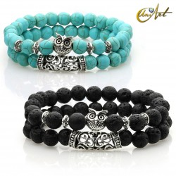 Set of two bracelets with owl.