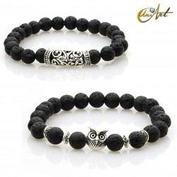 Set of two bracelets with owl - lave