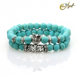 Set of two bracelets with owl - synthetic turquoise