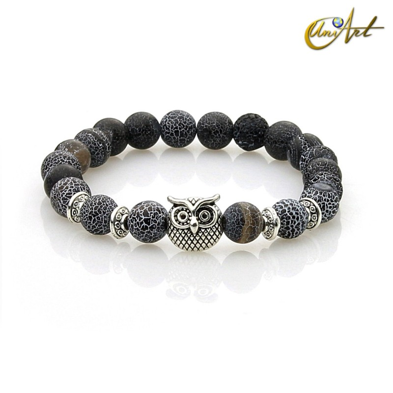 Owl bracelet of agate with efflorescence - black