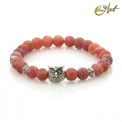 Owl bracelet of agate with efflorescence - orange