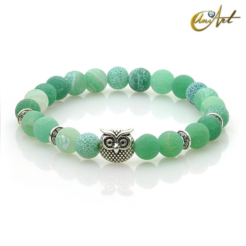 Owl bracelet of agate with efflorescence - green