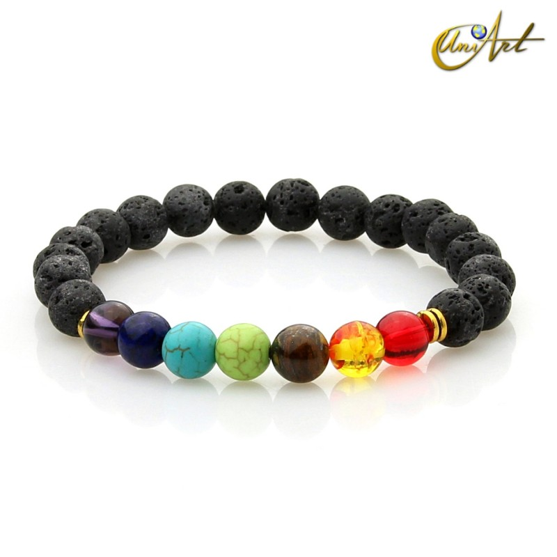Natural lava bracelet and chakras color beads